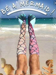Wholesale Fish Kid - 3D printing Mermaid Beach Socks Kids funny Mermaid Tail Socks Knee High Cosplay Socks Long Fish Scales Stockings