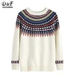 Wholesale Korean Women Clothing Sweater - Wholesale-Dotfashion Korean Winter Clothes Autumn 2016 Women Sweaters Jumper Women Pullover Beige Geometric Print Sweater