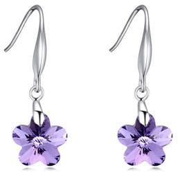 Wholesale Drop Earrings Make Swarovski - Austrian Crystal Long Drop Earrings Made With Swarovski Elements Flowers Dangle Earrings Jewelry For Women Accessories