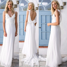 Wholesale Cowl Neck Chiffon Dresses - Beach Spaghetti Strap Lace Wedding Dresses Sexy Deep V Neck Chiffon robe de mariée Low Back Bridal Gowns Bohemian Country Wedding Dress