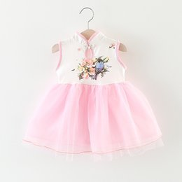 Wholesale Chinese Tutu Dress For Girls - Baby Girl Summer Dress 2017 Fashion Chinese Style Cute Print Flower Kids Dresses for Girls Clothes Infant 1-3 Year Birthday Party Dress