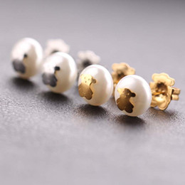 Wholesale Black Shell Jewelry - Wholesale Fashion stainless steel women gold silver plated shell pearls earrings jewelry party cute bears style gift earring in 3 colors