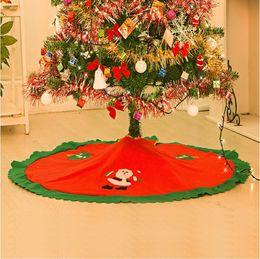 Wholesale Friends Decorations - Christmas Tree Ornament Skirts Santa Frosty snowman Friends Vintage Non-woven Apron festive party Christmas Decorations supplies RED