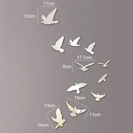 Wholesale Bird Mirror Stickers - Silver Acrylic Birds Design Mirror Effect Mural Wall Sticker Decal Artistic Modern Decoration Craft