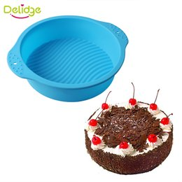Wholesale Wholesale Muffin Pans - Delidge 10pc Big Size Round Shape Cake Mold DIY Silicone Non-Stick Muffin Cake Pan Ripple Pattern Bread Chocolate Baking Pan
