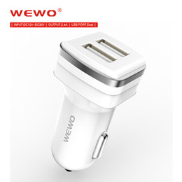 Wholesale Original Car Phone - Original WEWO USB Car Charger Dual USB Output 2.4A Quick Car Battery Charging 12 - 24V Input Car Chargers For Phones