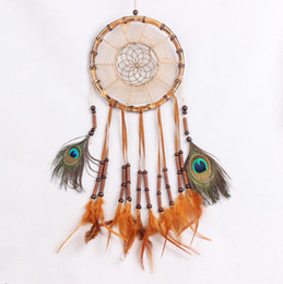 Wholesale Bamboo Wall Hangings - Handmade Bamboo Dream Catcher Peacock Feather Wall Hanging Home Decoration Ornament