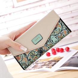 Wholesale Korean Wallet Phone Case - 2017 New Floral Designer Wallets Famous Brand Women Wallet Flower Printed PU Leather Women Clutch Wallet Ladies Card Case Holder