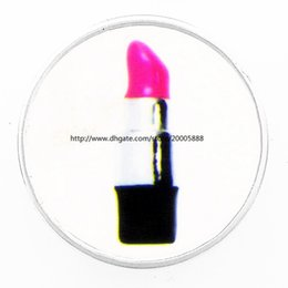 Wholesale Lipstick Resin - fashion Sexy lipstick 18 mm glass print ginger snap button jewelry luxurious alloy bottom fit 18 mm snaps bracelets best gifts