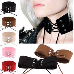 Wholesale Lace Binding - Women Gothic Punk Bound Velvet Leather Lace Necklace Sexy Rope Chocker Jewelry NE674