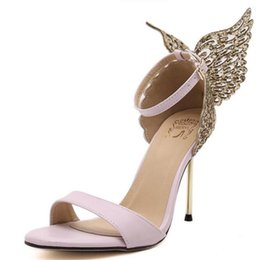 Wholesale Butterfly Bowtie - 2017 New Fashion Valentine Shoes Bronzing sequins Butterfly High Heels Sandals Stiletto Party Wedding Sandals