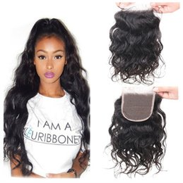 Wholesale Top Closure Density - Middle Part Top Closures 8A Brazilian Virgin Human Hair 100% Unprocessed Water Wave Hair Closure Natural Color #1b Swiss Lace 130% Density