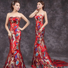 Wholesale strapless cheongsam dress - Sexy Casual Women Dresses China Long Wedding Party Dresses oriental qipao Chinese style evening dress traditional Chinese cheongsam