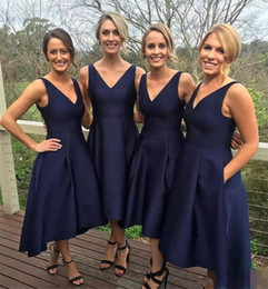 Wholesale Custom Bridesmaid Dresses Cheap Pocket - 2017 Navy Blue High Low Bridesmaid Dresses With Pockets Cheap V Neck Short Maid Of Honor Gowns Formal Country Junior Bridesmaids Dress