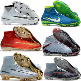 Wholesale Indoor Soccer - Top Quality Kids Mercurial Superfly FG CR7 Magista Obra Soccer Shoes Cristiano Ronaldo Cleats Neymar Footbal Shoes Cheapest Soccer Boots