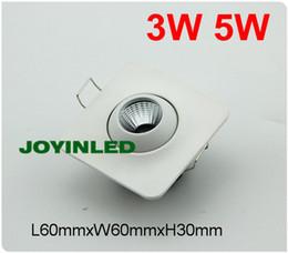 Wholesale Downlight Case - Wholesale- Free shipping 4pcs mini led square white paint case led spot light bulb 3w 5W kitchen living bedroom home cob LED downlight