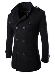 Wholesale Double Collar Coat - Wholesale- MLG Mens Classic Double Breasted Mid Long Trench Pea Coat