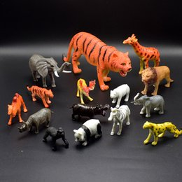 Wholesale Toy Wild Animals Plastic - 15Pcs set 3-20CM PVC Simulation Wild Animals Model of tiger Africa elephant lion rhino camel zebra Model Toys for kids gift