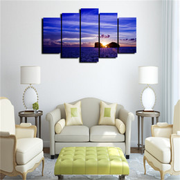 Wholesale Landscape Ocean Oil Painting - 5 Panels oceans-Blue Water In The Sunlight Modern Canvas Oil Painting Print Wall Art Decor for Living Room Home Decoration Framed Unframed