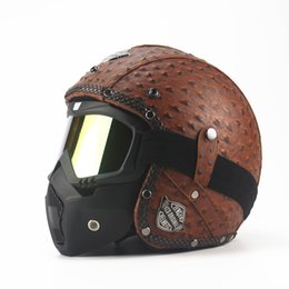 Wholesale Moto Motorcycle Helmets - Wholesale- Black Adult Open Face Half Leather Helmet Harley Moto Motorcycle Helmet vintage Motorcycle Motorbike Vespa