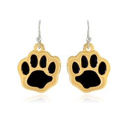 Wholesale Rhinestone Paw Print - Black Paw Print Drop Earrings Silver Charm Paw Metal Dangle Earrings For Women Girl Dog Owners Gold Pet Animal Jewelry Gift