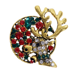 Wholesale Deer Head Brooch - 10X Fashion Rhinestone Elk Deer Head Brooch Pins Women Men Brooches Jewelry Accessories Badges Christmas Gift Wholesale
