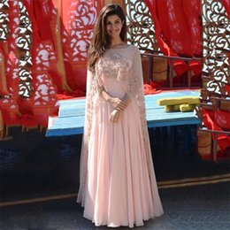 Wholesale indian chiffon evening gowns - 2017 Elegant Light Coral Appliques Evening Dress Long With Cape Peach Chiffon Formal Gowns Indian Women Gown Long Dress