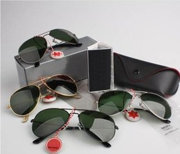 Wholesale Free Aviator Sunglasses - free shipping Hot Sale aviator Mirror Sunglasses Pilot for Men Women UV Protect Sunglasses with Leather Box
