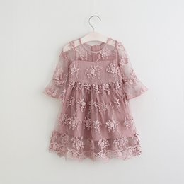 Wholesale Tutu Embroidery - Girls princess dress children embroidery flowers half sleeve party dress 2017 spring new kids round collar lace crochet falbala dress