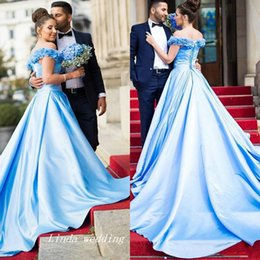 Wholesale Short Sleeve Fancy Dresses - 2017 Long Fancy Prom Dress Light Blue Off Shoulders Backless Corset Back Dubai Arabic Formal Pageant Party Gown Custom Made Plus Size