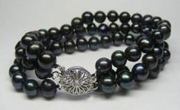 "Wholesale Black Cultured Pearl Bracelet - 3rows 8-9mm natural Black akoya cultured pearl Fashion Jewelry bracelet 7.5"""