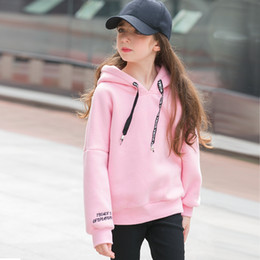 Wholesale Teens Hoodies - Wholesale- Candy Color 2016 Teen Girls T Shirts 100% Cotton Full Fleece Plush Hoodies Top Children's Coat Clothing Kids Warm Girl Clothes