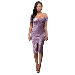 Wholesale Loose Velvet Dress - 2017 Summer Sexy Dress For Womens Ladies Off Shoulder Velvet Backless Bodycon Loose Party evening nightclub Mini Dress Vestidos femininos