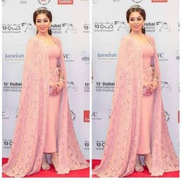 Wholesale Boat Jacket - Pink Long Evening Dresses With Cape Lace Half Sleeves Boat Neck Sweep Train 2017 Arabic Women Formal Celebrity Gowns Mother of the Bride