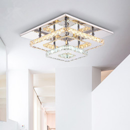 Wholesale Light Switch Lamps - Modern Crystal LED Ceiling Lights Fixture Square Surface Mounting Crystal Ceiling Lamp Hallway Corridor Asile Light Chandelier Ceiling Light