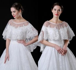 Wholesale Shawls Wraps For Sale - 2018 Cheap Lace Tulle Hi-lo Wedding Wraps with Delicate 3D Appliques Pearls Crystal Wedding Jacket Shawl Bolero For Sale Stock CPA909