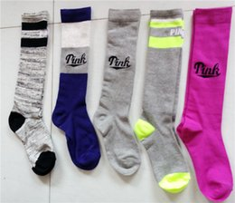 Wholesale Stocking Football Socks - Pink Victoria socks Women Socks Football Cheerleaders Stockings Victoria Knee High Sports Stocking Pink socks 2017 Christmas new year gift