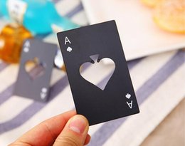 Wholesale Ace Poker - New Stylish Black Beer Bottle Opener Poker Playing Card Ace of Spades Bar Tool Soda Cap Opener Gift Kitchen Gadgets Tools