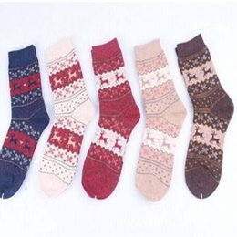 Wholesale Ladies Christmas Socks - Wholesale-1Pair Free Shipping Popular Multicolor Choice Snowflake Deer Christmas Design Cute Warm Wool Socks for Ladies and Girls