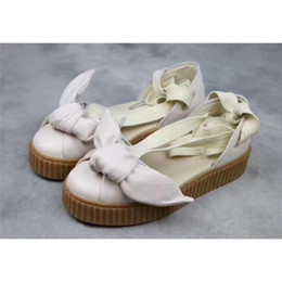 Wholesale Bow Pink Flat Back - Women Girl High X FENTY BOW CREEPER SANDAL Sandals The Flat Bottomed Outdoor Weaves Stretch Back To The Stream Casual Walking Shoes