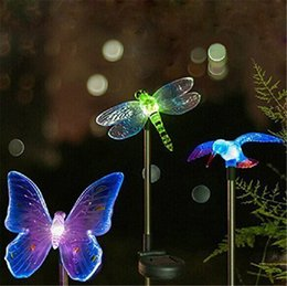 Wholesale Garden Stakes Decor Wholesalers - Solar Stake Light Outdoor Hummingbird, Butterfly & Dragonfly Solar Garden Light with Color Changing LED Light for Pathway Lawn Yard Decor