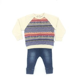 Wholesale Baby Jeans Set - Baby Clothes Girls Sets Cotton Striped Shirt and Jeans Pants Brand Appaman High Quality Infant Clothing