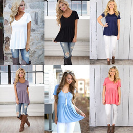 Wholesale Wholesale Cotton Tunics - Women's Summer Loose Fit Top Fashion Casual Round Neck Short Sleeve Peplum Babydoll Tunic Tops Solid Color T-Shirt Blouse