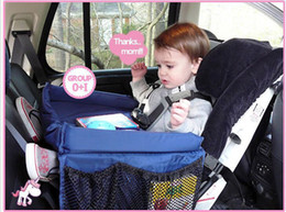 Wholesale Black Car Seat Covers - 10Pcs lot 2017 baby Toddlers Car Safety Belt Travel Play Tray waterproof folding table Baby Car Seat Cover Harness By Pushchair Snack