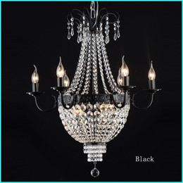 Wholesale French Vintage Art - Gorgeous French Empire Crystal Chandelier Light Fixture Vintage Crystal Lighting Wrought Iron White Chrome Black White color
