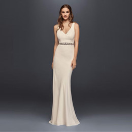 Wholesale White Jeweled Mermaid Dress - NEW! Jeweled Crepe Sheath Wedding Dress with Low Back Mermaid Sexy Back with Beaded Bridal Gowns Beading Sash JP341715