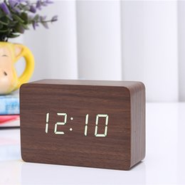 Wholesale Electronic Table Calendar - 2017 BROWN WHITE Display Wood USB Alarm Clock Wooden LED Digital Alarm Clock For Kids Morden Electronic Desk  Table Child Clock CYP-012