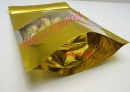 Canada 10 * 15cm, 100pcs / lot X Gold Tenez le sac ziplock de papier d'aluminium avec le jouet transparent de window-pack / poupée le sac en plastique réouvrable Offre