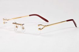 Wholesale Brown Glasses Frames - free shipping 2017 luxury brand rimless sunglasses men unisex buffalo horn glasses men women silver gold metal frame Eyewear occhiali