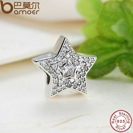 Wholesale Superstar Accessories - bracelet amulet Authentic 925 Sterling Silver Wishing Star Charm Fit Bracelet With Clear Cubic Zirconia DIY Accessories Superstar PAS070
